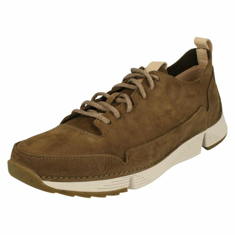 Mens Clarks Khaki Lace Up Casual Soft Sports Trainers Shoes Size Tri Spark