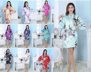 2016 NEW SALE Bridesmaid Peacock Kimono Robe Wedding Women Satin Silk Sleepwear