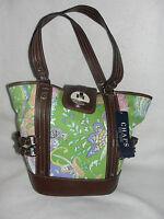 Womens Chaps Green Paisley Bucket Purse/handbag -