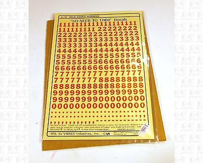 Virnex HO Decals Safety Orange 5//16 Inches Bold Gothic Number Set 3054