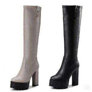 Women's 12cm Block Heels Platform Solid