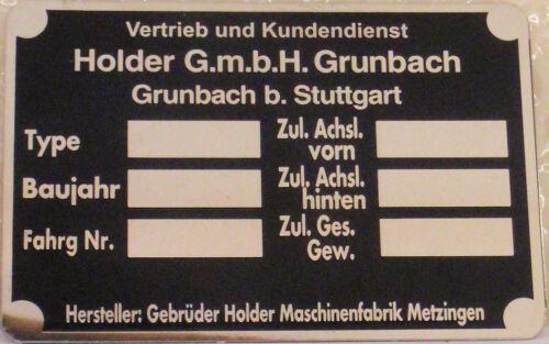 Typenschild für Holder Grunbach Metzingen 118564