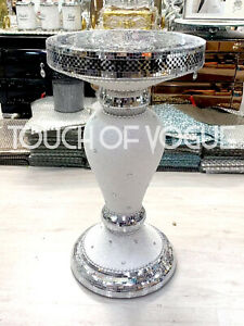 Silver-Pearl-Glitter-Mirrored-Table-Modern-Stand-Bed-Side-Lamp-Romany-Mosaic