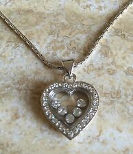 Heart Necklace  Pendant Floating Crystals