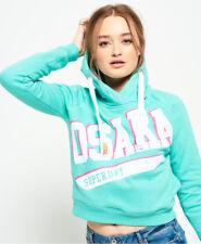 New Womens Superdry Osaka Swoosh Sport Crop Hoodie Tropical Teal Grit