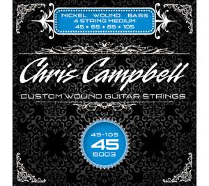 Chris Campbell 4-String Bass Strings Nickel Steel NPS Medium Gauge 45-105