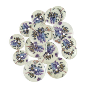 25mm 15 x Assorted Grape Vine Floral Wooden Craft Buttons 18mm