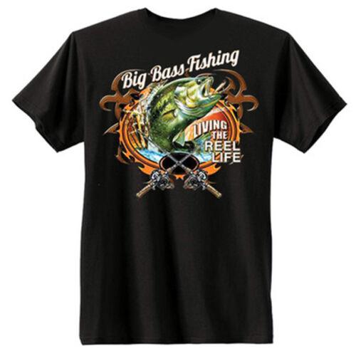 Big Bass Fishing Living The Reel Life Funny Cool T Shirt Tee
