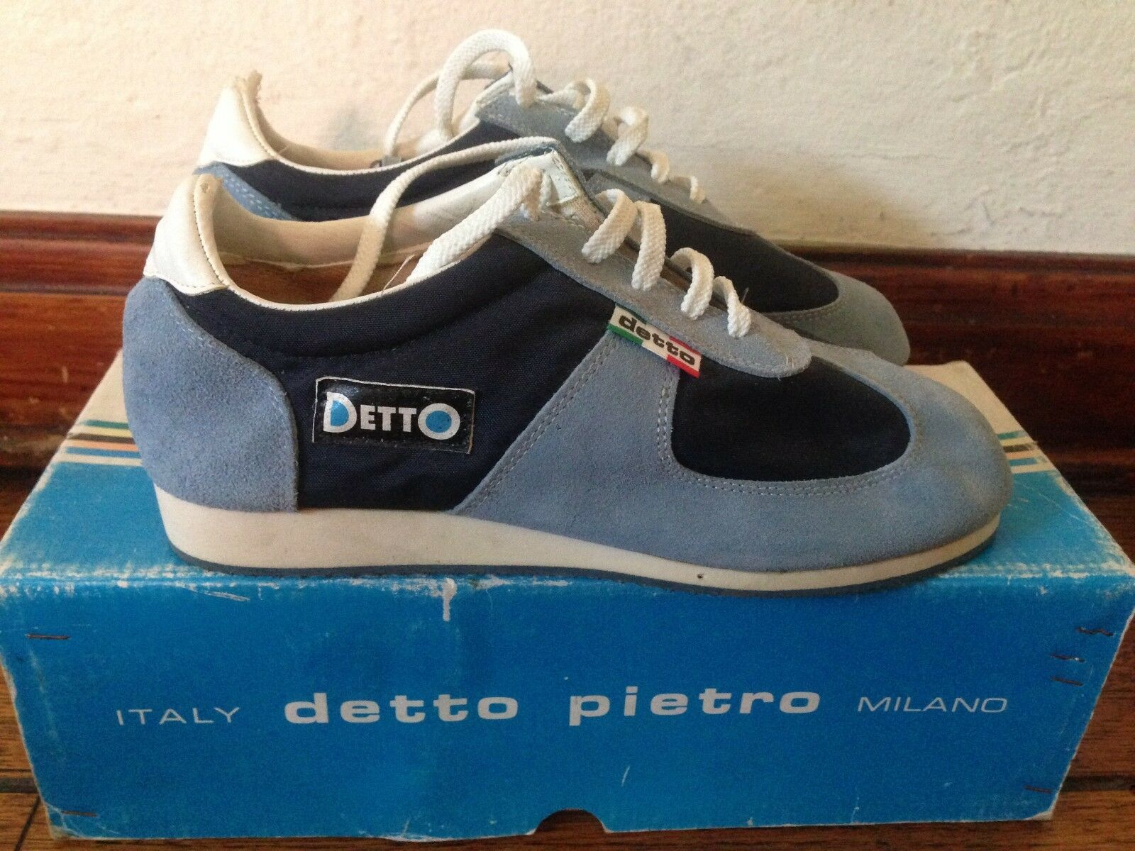NOS Detto Pietro TD Touring Bike Cycling shoes Sneakers bluee Suede Nylon 37 NIB