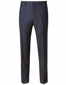 New-Ex-M-amp-S-Mens-Navy-Office-Trouser-Tailored-Fit-Flat-Front-Size-32-42-RRP-29-5