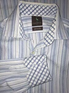 TAILORBYRD-L-S-Blue-White-Striped-Flip-Cuff-Shirt-Size-LARGE-100-Cotton