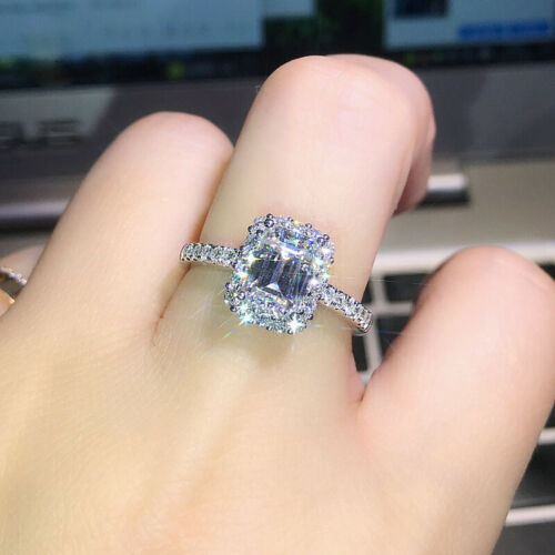 New 925 Sterling Silver Shiny Square Zircon Engagement Rings Jewellery Size 6-10