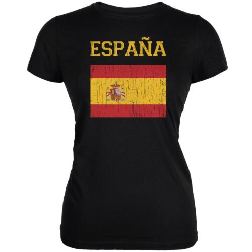World Cup Distressed Flag Espana Black Juniors Soft T-Shirt