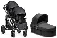 Baby Jogger City Select Twin Double Stroller Onyx W/ Second Seat And Bassinet