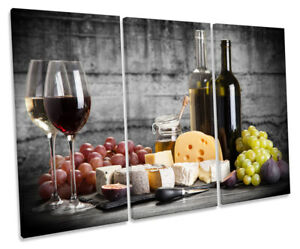 Wine Grapes Cheese Kitchen Picture Treble Canvas Wall Art Print Ebay