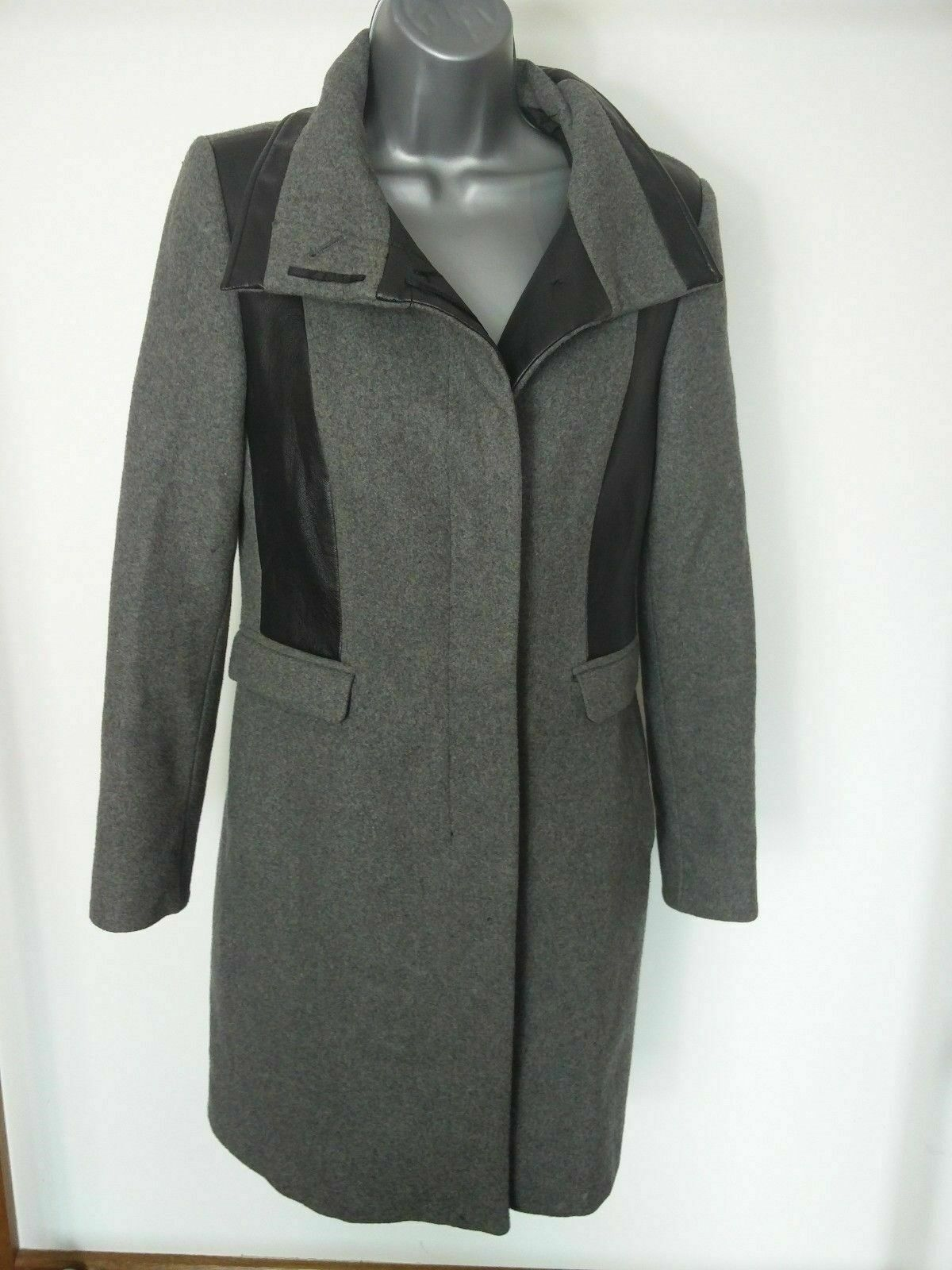 WOMENS ZARA GREY WOOL COAT SMALL
