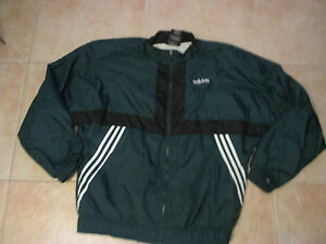 separation shoes 2e1f9 0b599 Image is loading VINTAGE-ADIDAS-ZIP-UP-WINDBREAKER-XL-JACKET-GREEN-