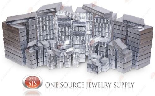 Silver View Top Clear Top Cotton Filled Jewelry Gift Boxes Box Lots 12-25-50-100