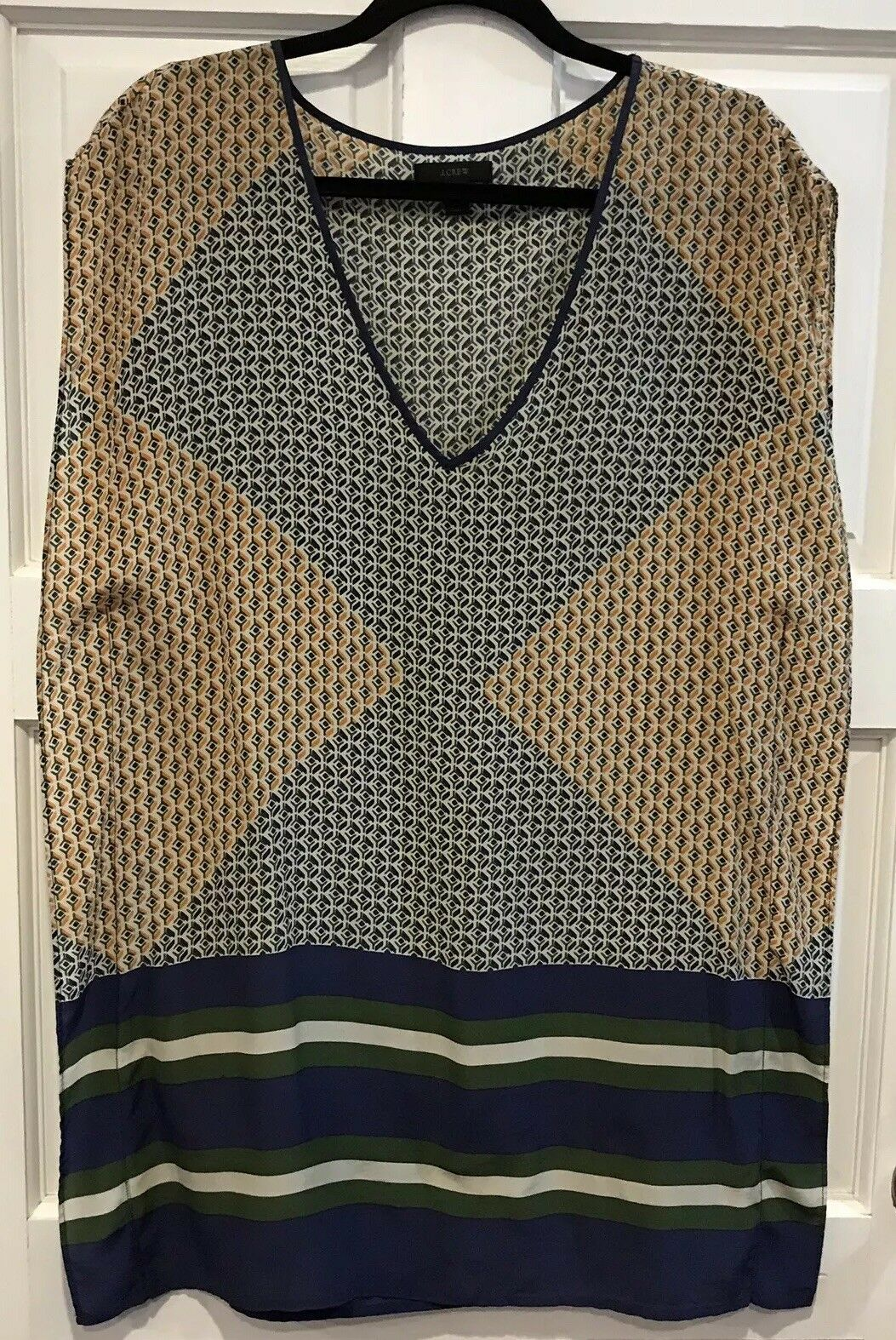J. Crew Silk Abstract Diamond Tunic Beach Cover-Up Dress Womens XS bluee Green