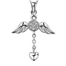 Schutzengel 925 Silber Swarovski® Kristall Anhänger Engel Herz Talisman Geschenk