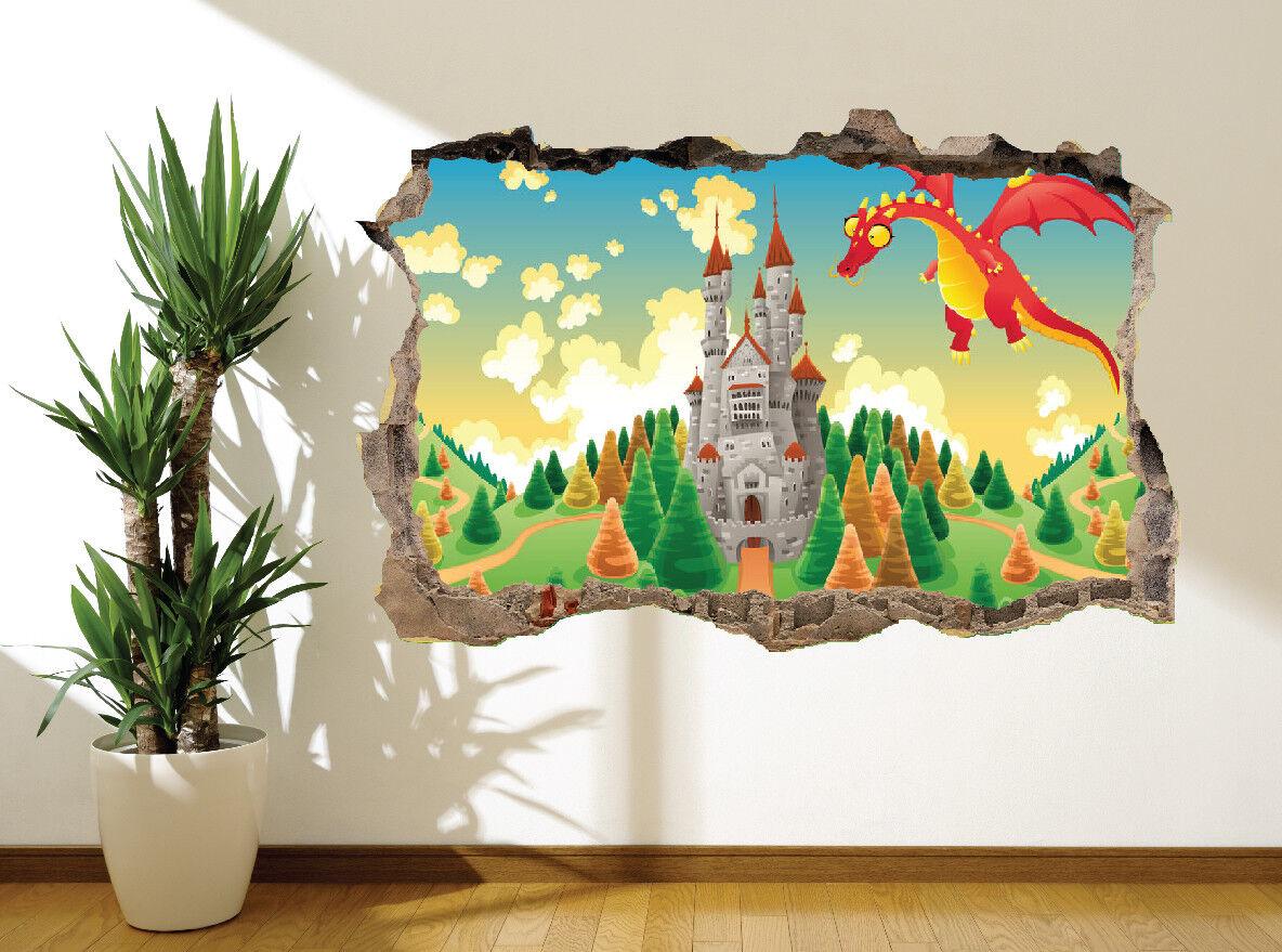 Fiaba Castello e Dragone Foto Adesivo da Parete Murale (6320504) Decorazione