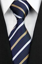 GIFTS FOR MEN Classic Mens 2 Way Stripe Silk Necktie Tie Navy Blue Gold White