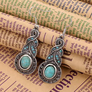 Vintage-Women-Boho-Turquoise-Crystal-Tibet-Silver-Hook-Dangle-Earrings-Jewelry