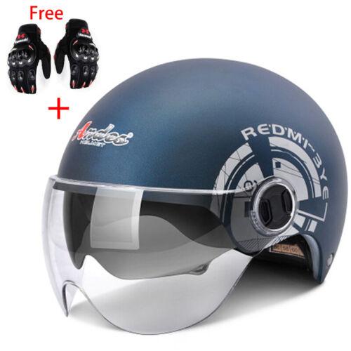 Motorcycle Half Helmet Dual Sun Visor Motorbike For Harley Scooter Free Gloves