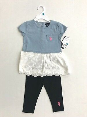 Polo Assn NWT U.S Girls 2 piece outfit sweater w leggings 4-6X