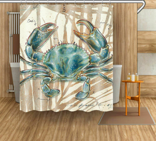 """72x72/"""" Watercolor Crab Polyester Fabric Shower Curtain Bathroom Decor w// Hooks"""