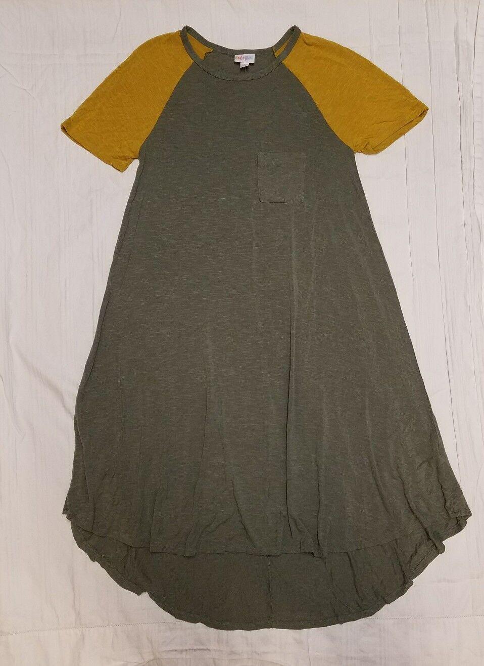 LULAROE Carly Raglan Pocket Dress Mustard Gelb Sage Grün damen SZ S