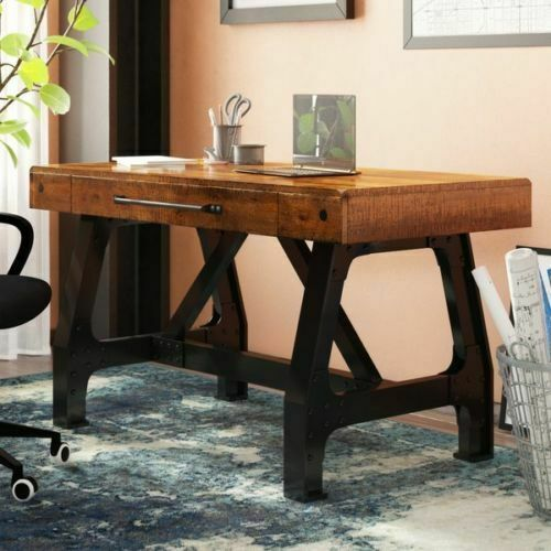 Writing Desk Vintage Style Solid Wood Office Table Drawer Rustic Antique Design