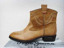 PEPE JEANS LONDON Damen Western Stiefel, Boots, Echtleder, braun, Gr.40, NEU