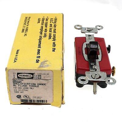 Hubbell 1123 Flush Toggle Switch, 20A 120-277VAC, 3-Way, Brown, Side on leviton 3 way switch, pass & seymour 3 way switch, bridgeport 3 way switch, eagle 3 way switch, lutron 3 way switch, changing 3-way light switch, cooper 3 way switch, legrand 3 way switch,