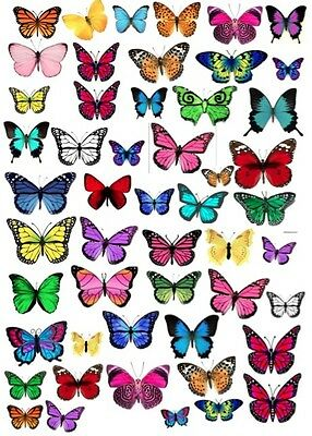 Mixed Edible Wafer Paper Butterflies Cake Cupcake Toppers ...