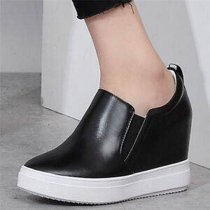 Image is loading Women-Casual-Shoes-Platform-Wedge-Fashion-Leather-Sneakers- b7f28f548