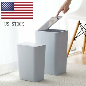 Trash-Can-Garbage-Rubbish-Bin-Toilet-Office-Wastebasket-S-L-Touch-Lid-Slim-Home