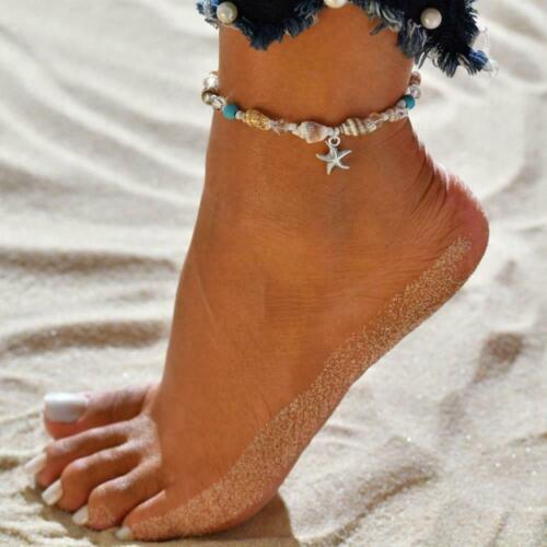 Seestern Muschel Strand Fuß Kette Muschel Sandale Fußkettchen-Perlen Armban U1O7