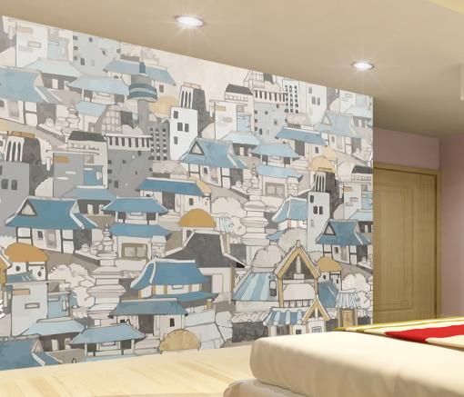 3D Blau House Painting 838 Wallpaper Mural Paper Wall Print Wallpaper Murals UK