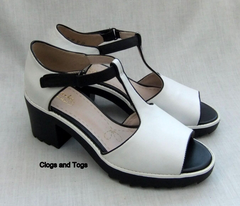 New Clarks Genevie bulle pour femme Blanc Combi Chaussures en cuir taille 7 41