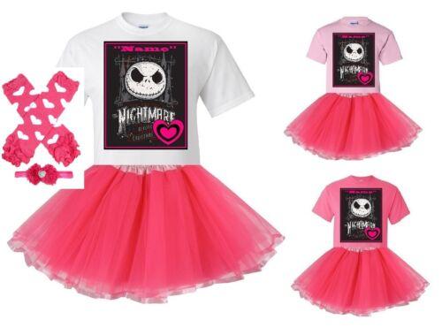 "/""Jack Skellington/"" Personalize White or Pink T-Shirt /& Pink Tutu Set-NEW"