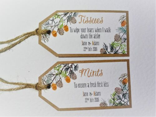 GROOM SURVIVAL KIT TAGS 60 colours Hand-made RUSTIC AUTUMNAL WREATH wedding
