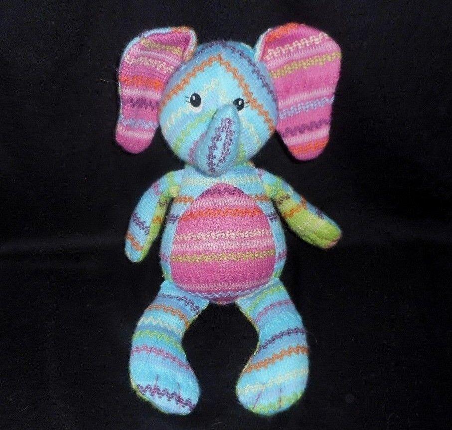 14  MARY MEYER BABY KNIT STRIPED ELEPHANT PINK & blueE STUFFED ANIMAL PLUSH TOY