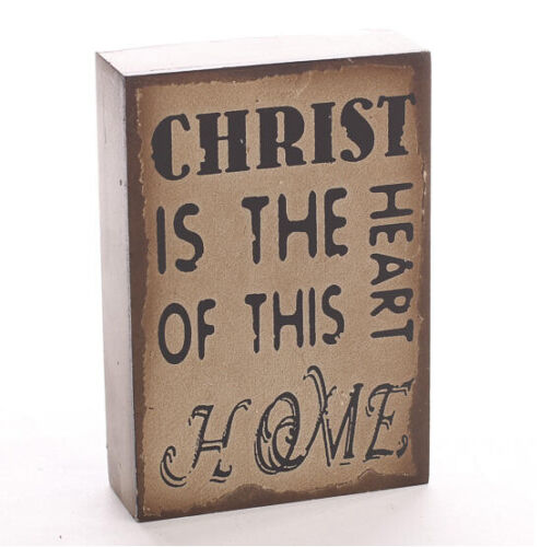 """/""""Christ is the Heart of This Home/"""" Rustic Wooden Sign 6/"""" x 4/"""" x 1.5/"""""""
