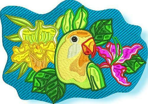 TROPICAL BIRDS  10 MACHINE EMBROIDERY DESIGNS CD or USB
