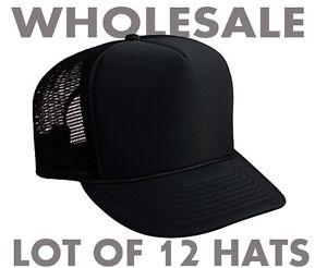 fbbe82a430f Wholesale Lot 12 Trucker Hats - NEW - ALL BLACK Mesh Adjustable ...