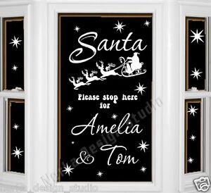 Details About Christmas Window Stickers Santa Pease Stop Here Sticker Xmas Decoration Ns51