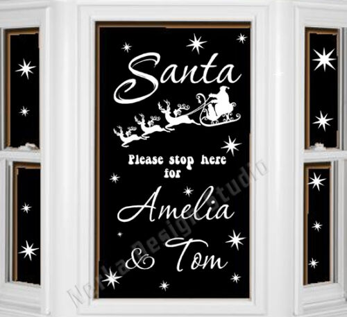 SANTA PLEASE STOP HERE PERSONALISED WALL QUOTES CHRISTMAS WINDOW STICKERS S51