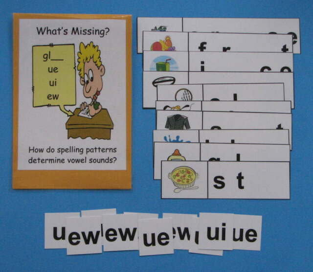Teacher Made Literacy Center Resource Game Long Vowel Patterns ue, ui & ew