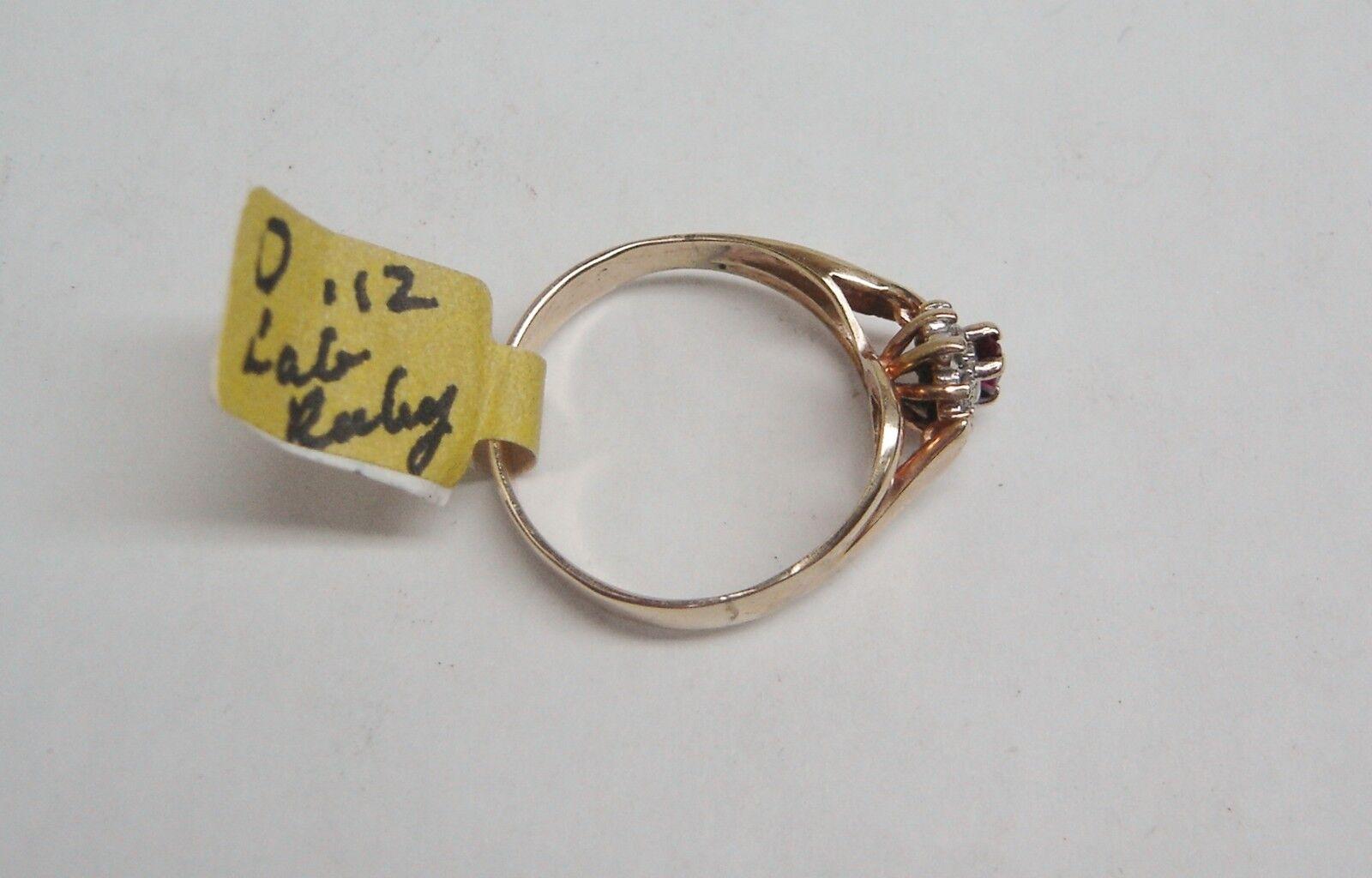 14k oro Giallo Creato Creato Creato in Laboratorio Rubino   12 Diamante 12 Tcw ) Anello faad23